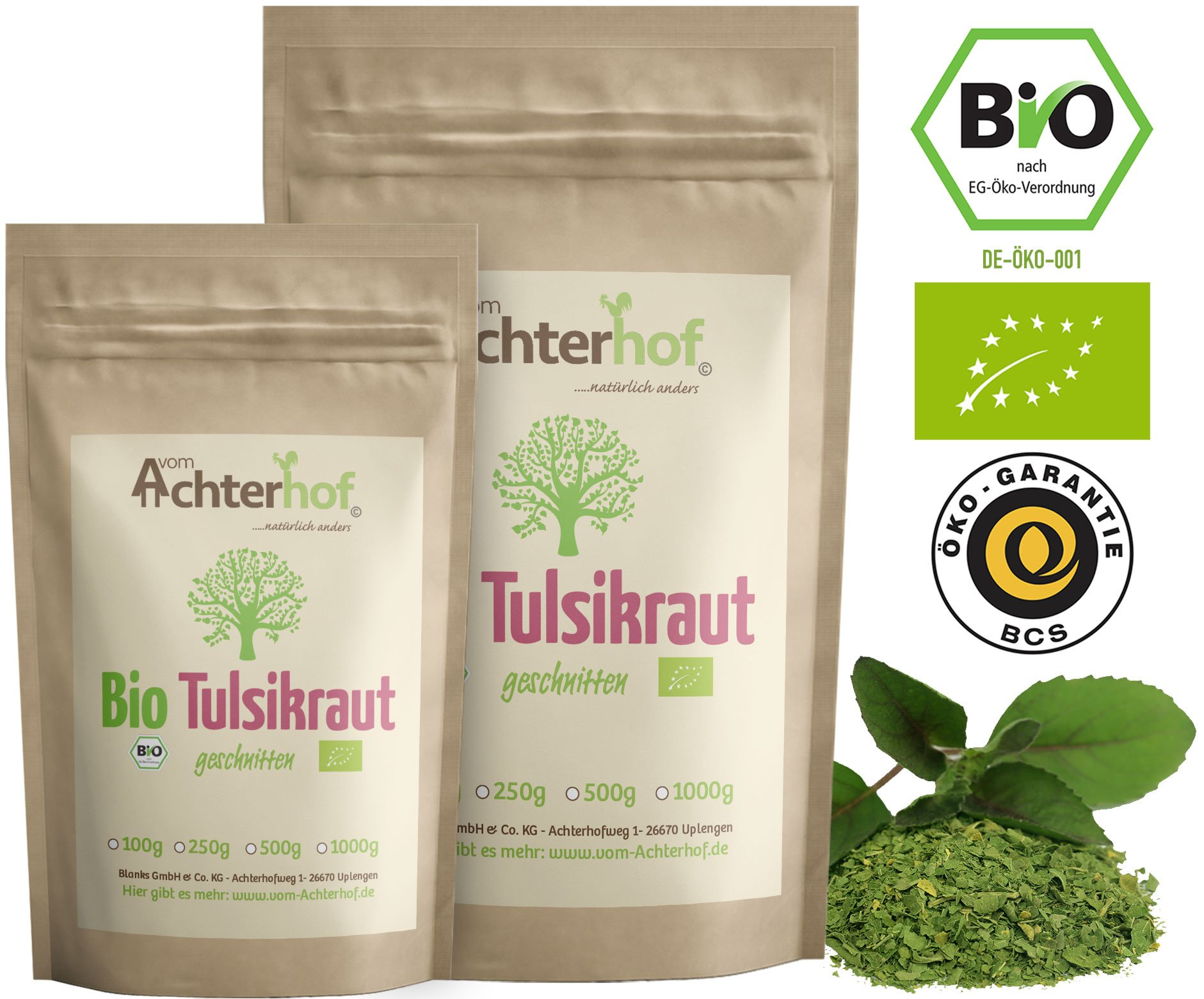 Tulsi-Tee-Bio-250g-Tulsikraut-gerebelt-indischer-Basilikum