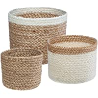Atmosphera - Lot de 3 Paniers Seagrass Naturel et Blanc H 14 H 12 et H 10 cm