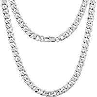 Silvadore 9mm CURB Mens Necklace Silver Chain Cuban - Stainless Steel Jewellery - Neck Link Chains for Men Man Women Boys Kids - 18