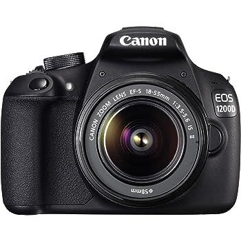 """Canon EOS 1200D - Cámara réflex digital de 18 Mp (pantalla 3"""", estabilizador, vídeo Full HD), color negro - kit con objetivo EF-S 18-55mm f/3.5 IS II"""