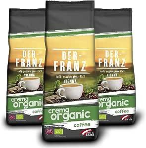 Der Franz, caffè Crema biologico UTZ, chicchi interi, 3 x 500 g