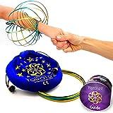 Toroidz ® Flow Ring + Pochette. Un Jouet Fantastique et Magique - 3D Arm Spring (Bras) - Science, Cirque, Festival, Jeux de éducatif - Cadeau pour Tous Les âges (Or Bleu / Sac Bleu)