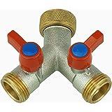 Répartiteur en Y- Raccord 2 voies avec robinets d'arrêt pour deux tuyaux d'arrivée - 2 appareils - Pour arrivée d'eau de réf