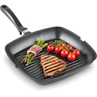 VonShef Griddle Pan Cast Iron 28cm - Non Stick - Suitable For All Hobs including Induction