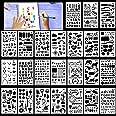 HOWAF Lot de 24 Pochoir Bullet Journal réutilisables Pochoir à Dessin pochoirs Peinture pour Enfant, Sculpture, Chiffres poch