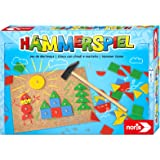 Noris 606049101 Hammerspiel, Lern- und Geschicklichkeitsspiel mit 50 bunten Holzbauteilen in verschiedenen Formen, für Kinder