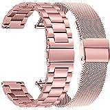TRUMiRR Vervanging voor Galaxy Watch 42 mm/Galaxy Watch Active/Gear Sport armband, 20 mm solide roestvrijstalen horlogeband m