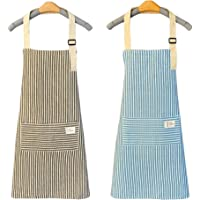 qipuneky 2 pieces, Kitchen apron, Anti-fouling Kitchen Apron, Adjustable Neck Apron with Pockets, for Grilling in Garden…