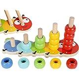 TOWO Anelli impilabili in legno Baby–Adorabile tavoletta impilabile dal design - Puzzle di smistamento del colore - 5 pioli I