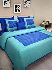 Jaipuri Style 100% Cotton Printed King Size Double Bedsheets with 2 Pillow Covers - Blue
