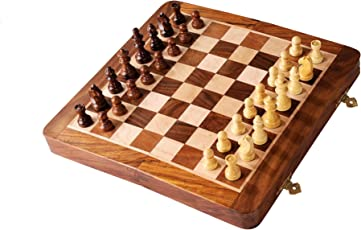 "SG Wooden Handcrafted Folding Chess Set With Magnetic Pieces (10"")"