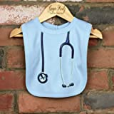 Stethoscope Pop-Over Baby Bibs - Blue, Pink, Yellow and White Bibs