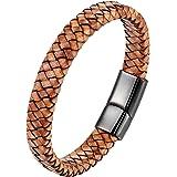 ZiiLay - Braccialetto da uomo in pelle bovina intrecciata con chiusura magnetica, in acciaio inox, colore marrone