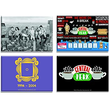 Mc Sid Razz Friends TV Series Combo Pack of 4 Rectangular Fridge Magnet (Quotes + Central Perk + The Purple Door Set Birthday Gift Officially Licensed by Warner Bros,USA