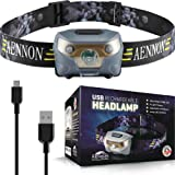USB Wiederaufladbare LED Stirnlampe Kopflampe, Sehr hell, wasserdicht, leicht und bequem, Perfekt fürs Joggen, Gehen…