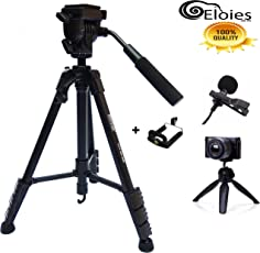 Eloies Simpex Long Lightweight Aluminium Tripod kit with Mini for DSLR Camera's & Mobile Phones and Microphone (57Inch)