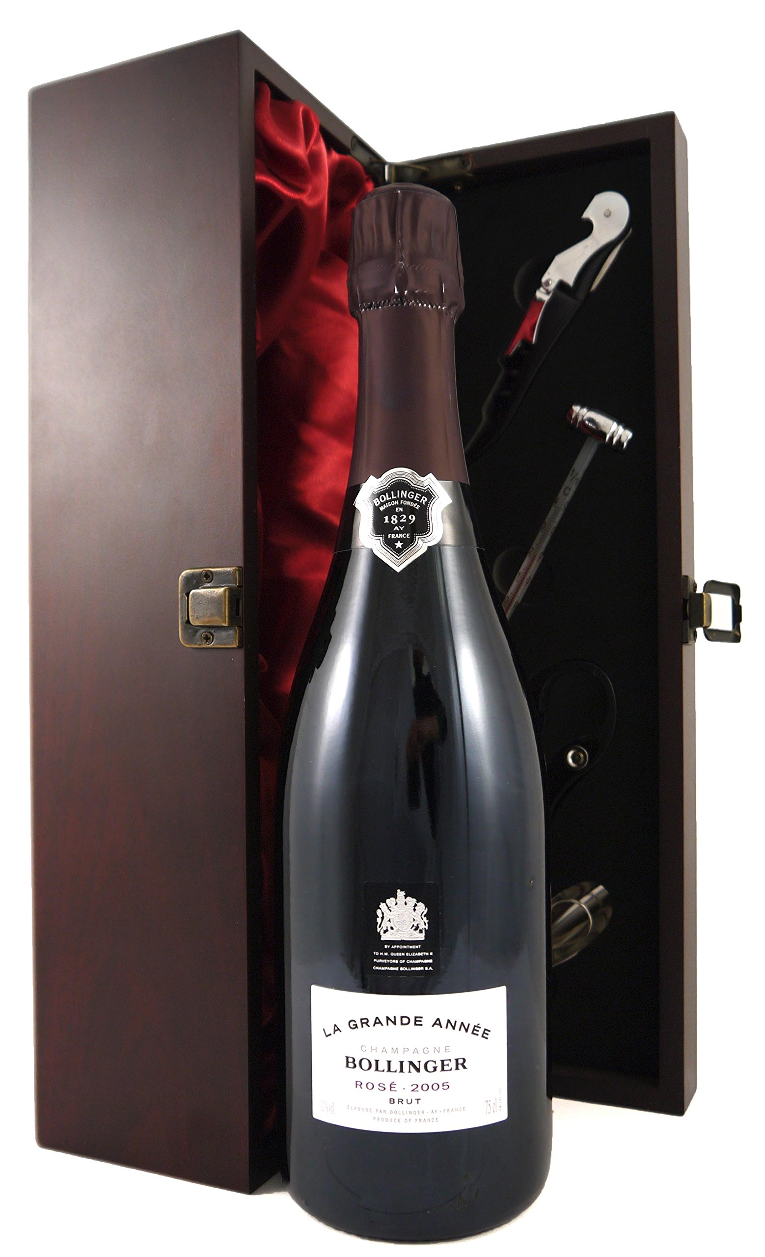 2005 Bollinger Rosé Grand Annee Vintage Champagne in a silk lined presentation box with four wine accessories