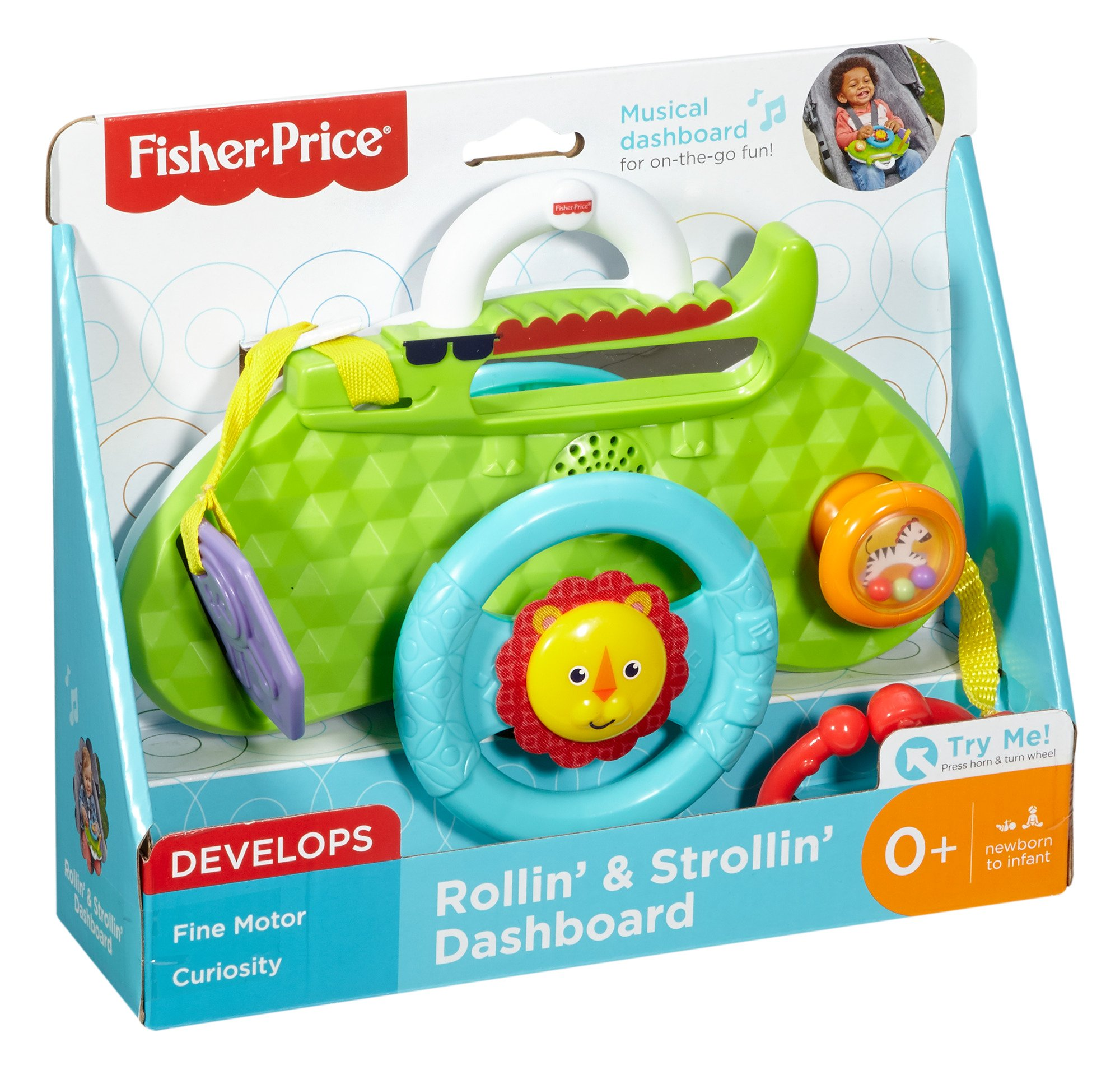 Fisher-Price Rolling and Strolling Dashboard, New-born Activity Toy with Music Sounds Fisher-Price  Attaches to stroller for playtime on the go  Turn the lion steering wheel to hear short songs  Push the lion's face for silly sound effects (Beep beep!) 7