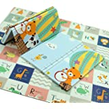 Play Mat, 200 * 180 * 1.5 CM Folding Playmat, Baby Play Mat for Floor Play, Extra Thick Kids Crawling Mat, Water Proof and Re