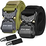 STAY GENT 2 Pack Tactical Belt for Men, Black Quick Release Military Style Belts with Buckle, Heavy Duty Nylon Webbing Work B