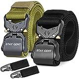 STAY GENT 2 Pezzi di Cintura Tattica per Uomini, Nero Sgancio Rapido Cintura Militare con Fibbia, Pesante Nastro di Nylon Cin