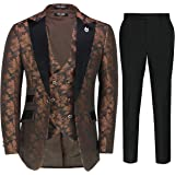 Mens Grooms 3 Piece Wedding Suit Vintage Paisley Classic Tailored Fit Tuxedo Jacket Waistcoat Trousers