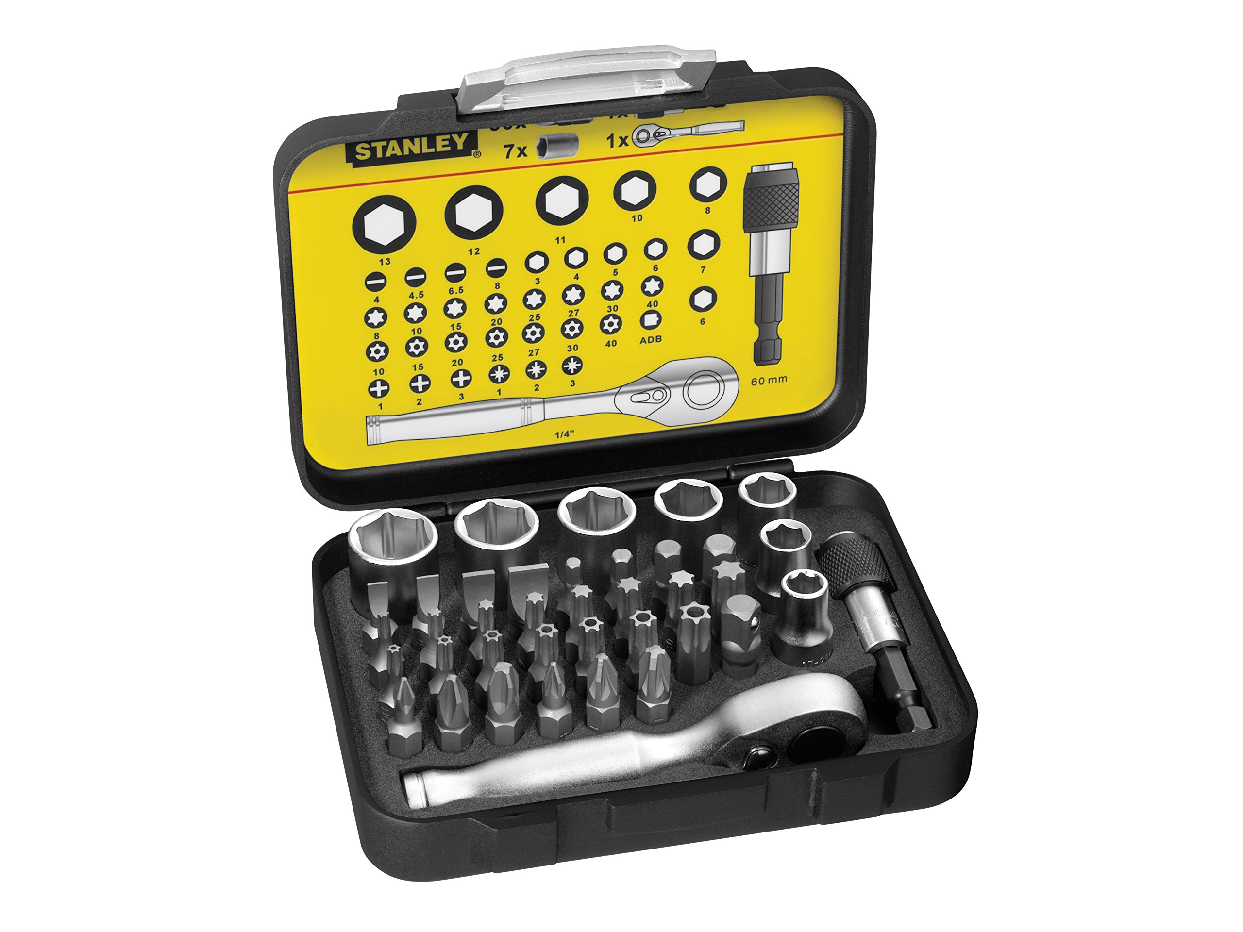 810FSt8epbL - STANLEY 1-13-906 - Juego 39 piezas, incluye puntas 1/4'', llaves de vaso y mini llave con carraca 1/4''