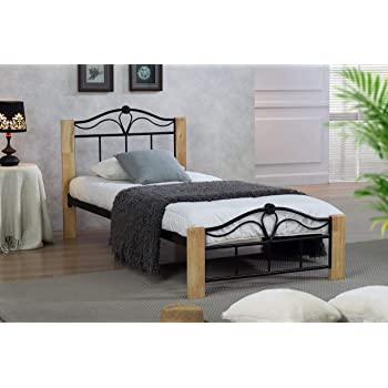 Thiago 48FT Single Wooden Beech And Black Metal Bed Frame New Black Contemporary Bedroom Set