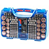 Hard Battery Organizer Storage Box, Carrying Case Bag Holder - Holds 180 Batteries AA AAA C D 9V - with Battery Tester BT-168