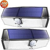 200 LED Lampe Solaire Extérieur 2 Pack 3 Modes Lampe Solaire Etanche IP67 Détecteur de Mouvement Solaire Puissante…
