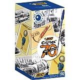 BIC Cristal Original Pennea Sfera Punta Media (1.00 mm), Blu, Confezione da 50, Fornitura per Scrivere in Ufficio e a Casa