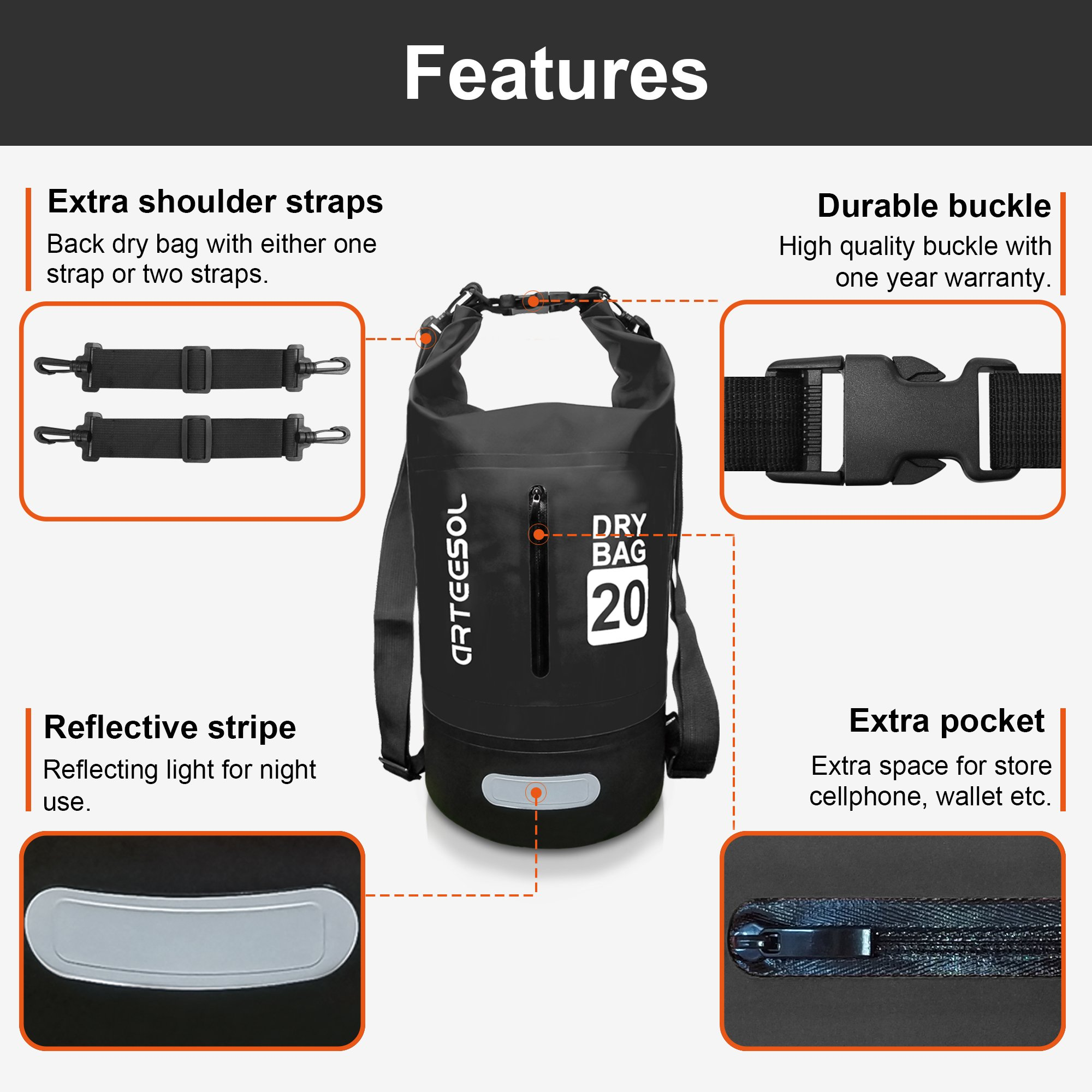 4e6c2fe3141 Arteesol Dry Bag 5L 10L 20L 30L Waterproof Dry Bag Rucksack with ...