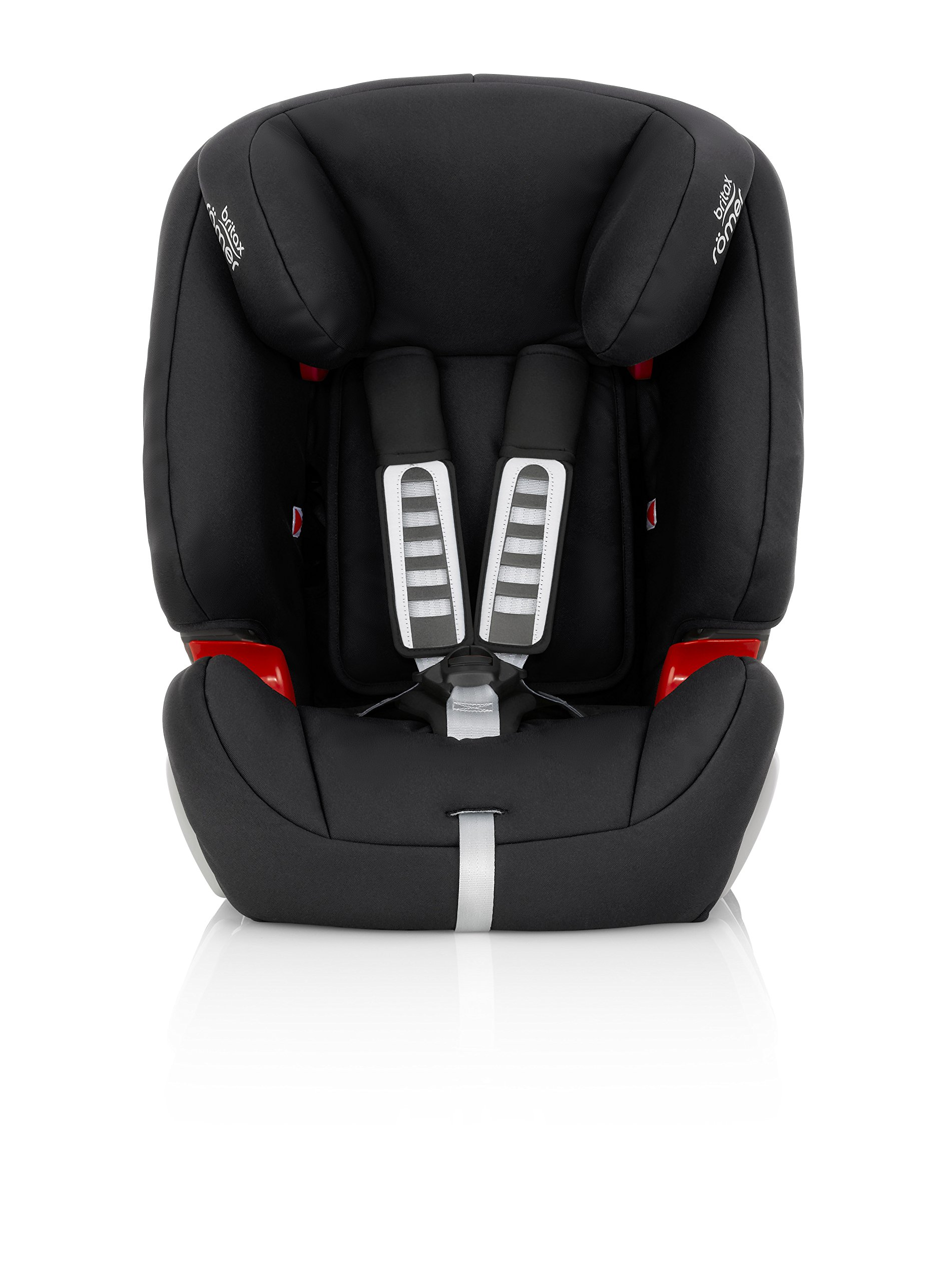 Britax Römer EVOLVA 1-2-3 Group 1-2-3 (9-36kg) Car Seat - Cosmos Black  Installation, 3-point seat belt only Reduced Forward Movement - Performance Chest Pads The padded headrest and harness can easily be adjusted with one hand to suit your child's height 3
