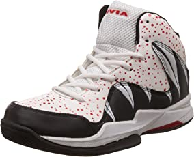 Nivia Heat Basketball Shoes, UK 8 (White/Red)