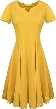 فستان سكاتر نسائي كاجوال جميل مطرز على شكل أقواس صغيرة بأكمام قصيرة كاجوال لحفلات الكوكتيل من أفراتي