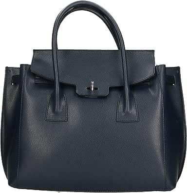 Aren - Handbag Borsa a Mano da Donna in Vera Pelle Made in Italy - 34x31x10 Cm