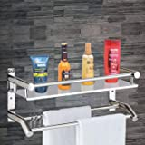 Plantex High Grade Stainless Steel Multipurpose 2 Tier Bathroom Shelf with Towel Holder/Towel Hooks/Bathroom Accessories Wall