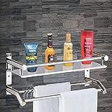 Plantex High Grade Stainless Steel Multipurpose 2 Tier Bathroom Shelf with Towel Holder/Towel Hooks/Bathroom Accessories…