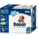 Dodot Sensitive Kit Recién Nacido: Paquete de Pañales Talla 1 (2-5 kg) + Dos Paquetes Talla 2 (4-8 kg) + 54 Toallitas Dodot S