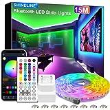 15M LED Strip, SHINELINE 1 Rolle Bluetooth App und Fernbedienung RGB LED Streifen, Musik Sync Farbwechsel LED Lichtband für S