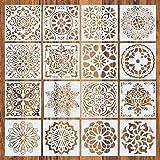 Pochoir Mandala de Peinture, pochoirs réutilisables, Pochoir de peinture Mandala Dot Modèle pour mur, meubles, sol(6 pcs)