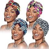 SATINIOR 4 Pezzi Turbanti per Donne Modello Africano Cappello Turbante con Nodo Pre-Annodato a Fascia Berretto
