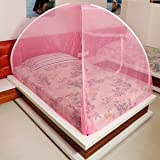 Fegore Foldable Mosquito Net for Single Size Bed, Polyester Material (Single Bed, Pink_Color)