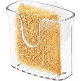 iDesign Sponshouder voor de keuken, kleine sponshouder met zuignap van kunststof, spoelbakorganizer voor spoelspons of pannen