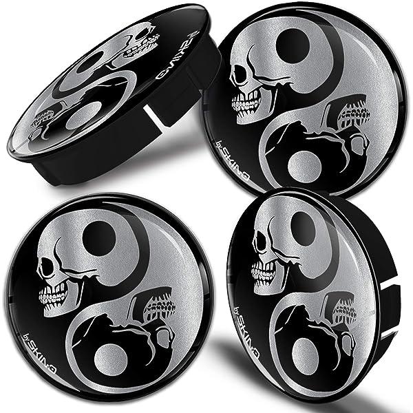Biomar Labs 4 X 60mm Silikon Nabenkappen Kappen Skull Schädel Yin Yang Symbol Silber Felgendeckel Radkappen Radnabendeckel Nabendeckel Auto Tuning C 82 Auto