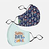 Chumbak The Brighter Side Mask V4 - Out of the Blue - Set of 2 , Printed Cotton Face Mask Set Of 2, Non-Valved Multicoloured