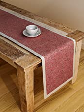 S9 Seasons Polyester 6 Seater Plain Berry Table Runner, 72x12-inches, Red