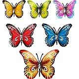 Blulu 6 Pièces Papillon en Métal Art Mural Papillons en Métal Décoration Murale Sculpture 3 Tailles Papillon Suspendu Mural I