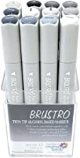 Brustro Twin Tip Alcohol Based Marker Set of 12 - Cool Greys