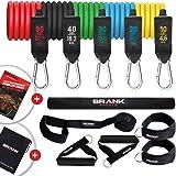 BRANK Sports® Fitness sportelastiek met handgrepen 5 tot 68kg verstelbare weerstand | Complete bodybuilding elastiek kit met